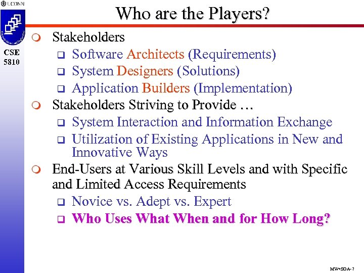 Who are the Players? m CSE 5810 m m Stakeholders q Software Architects (Requirements)