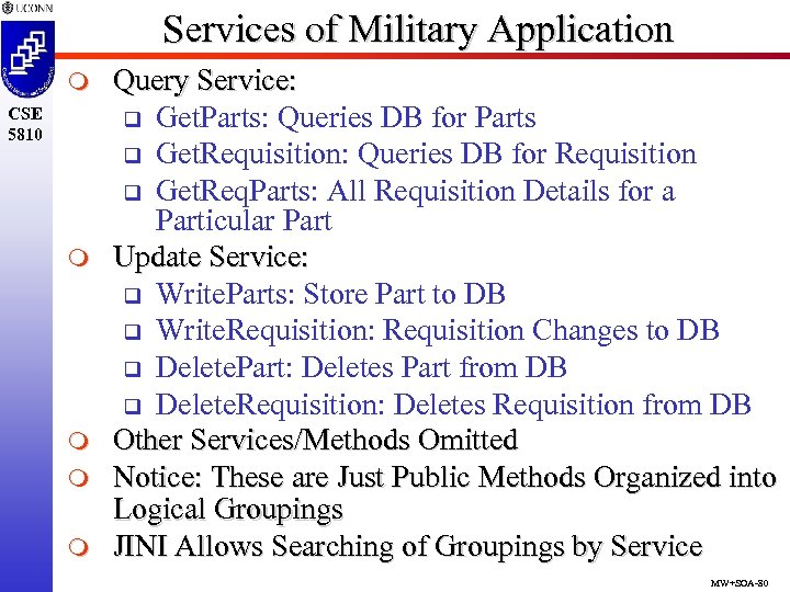 Services of Military Application m CSE 5810 m m Query Service: q Get. Parts: