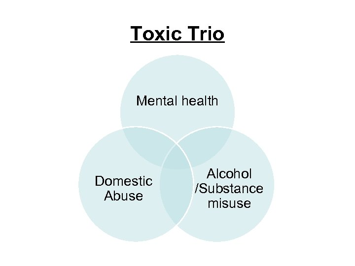 Toxic Trio Mental health Domestic Abuse Alcohol /Substance misuse