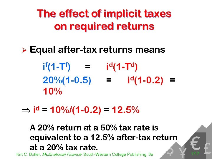 The effect of implicit taxes on required returns Ø Equal after-tax returns means if(1