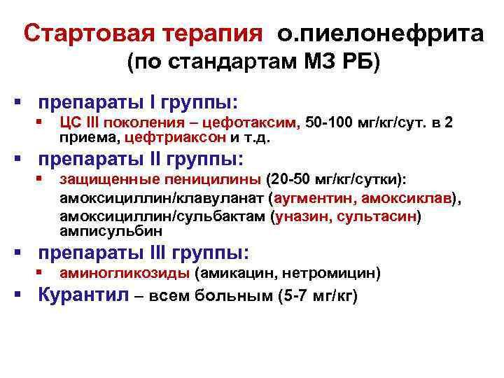 Стартовая терапия о. пиелонефрита (по стандартам МЗ РБ) § препараты I группы: § ЦС