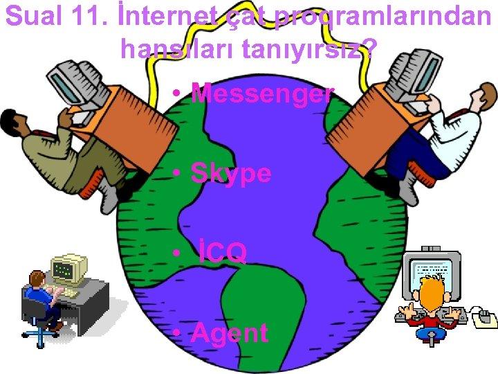 Sual 11. İnternet çat proqramlarından hansıları tanıyırsız? • Messenger • Skype • İCQ •