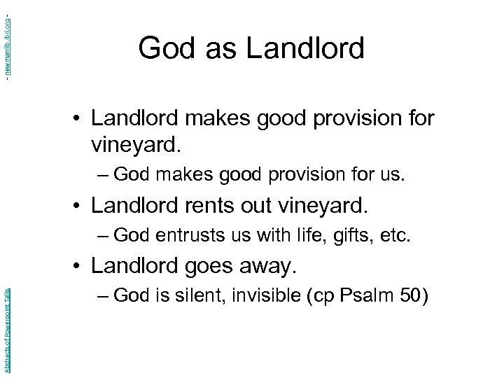 - newmanlib. ibri. org - God as Landlord • Landlord makes good provision for