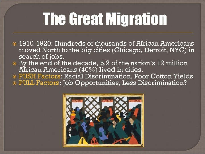 The Great Migration 1910 -1920: Hundreds of thousands of African Americans moved North to