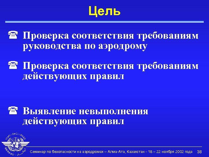 Цель ( Проверка соответствия требованиям руководства по аэродрому ( Проверка соответствия требованиям действующих правил