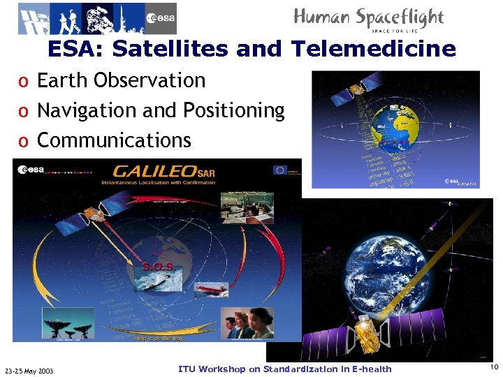 ESA: Satellites and Telemedicine ITU-T Observation o Earth o Navigation and Positioning o Communications
