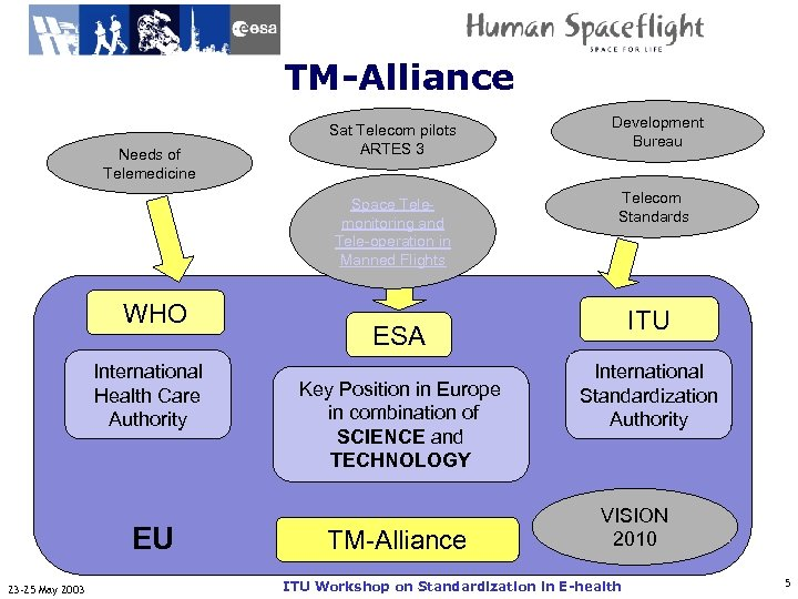 TM-Alliance ITU-T WHO International Health Care Authority EU 23 -25 May 2003 Development Bureau
