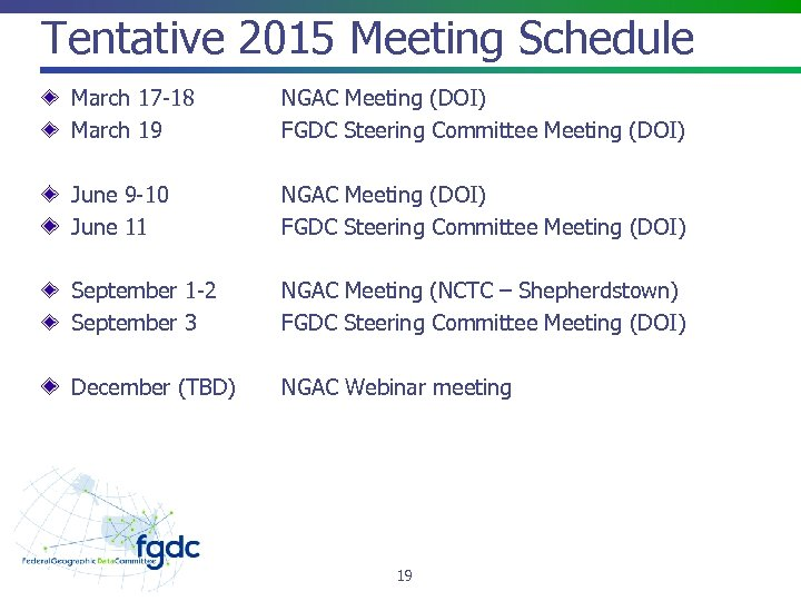 Tentative 2015 Meeting Schedule March 17 -18 March 19 NGAC Meeting (DOI) FGDC Steering
