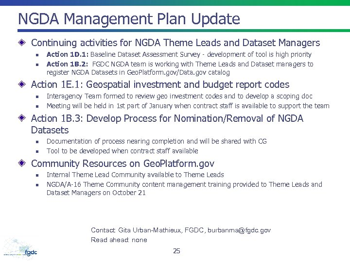NGDA Management Plan Update Continuing activities for NGDA Theme Leads and Dataset Managers n