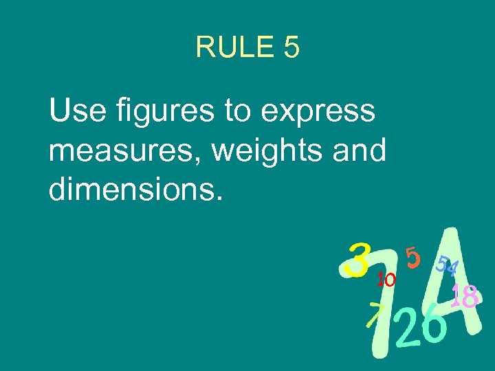 RULE 5 Use figures to express measures, weights and dimensions.