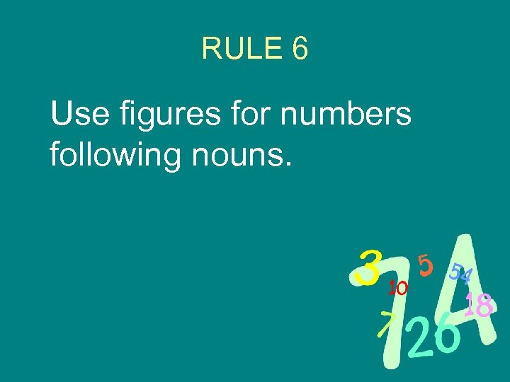 RULE 6 Use figures for numbers following nouns.