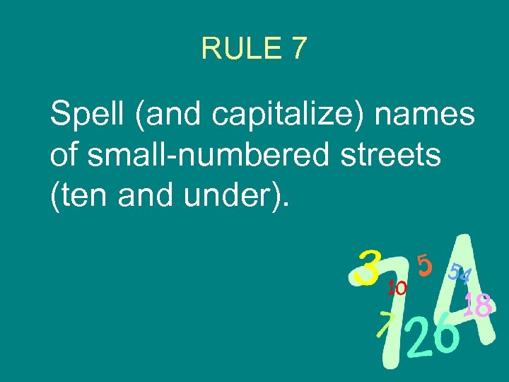 RULE 7 Spell (and capitalize) names of small-numbered streets (ten and under).