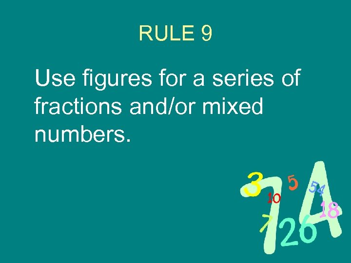 RULE 9 Use figures for a series of fractions and/or mixed numbers.