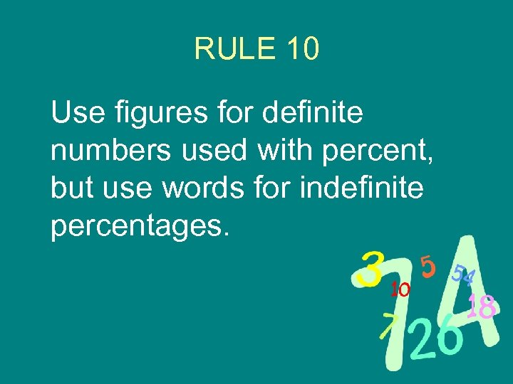 RULE 10 Use figures for definite numbers used with percent, but use words for