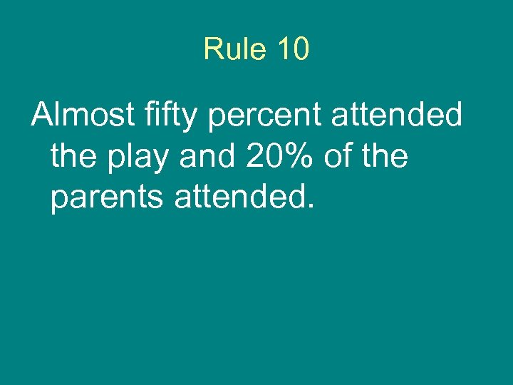 Rule 10 Almost fifty percent attended the play and 20% of the parents attended.