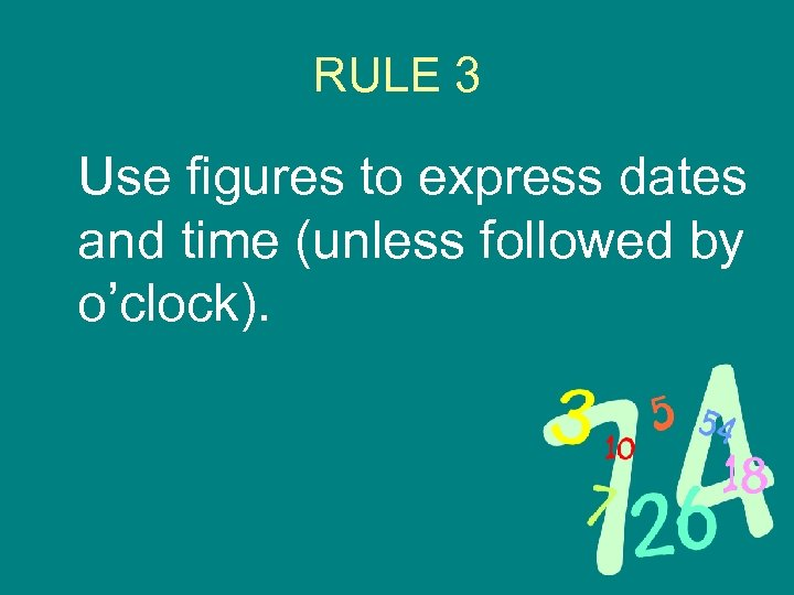 RULE 3 Use figures to express dates and time (unless followed by o'clock).