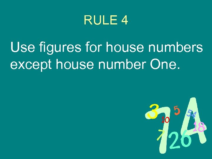 RULE 4 Use figures for house numbers except house number One.