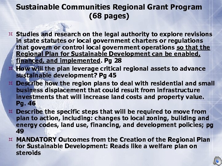 Sustainable Communities Regional Grant Program (68 pages) Studies and research on the legal authority
