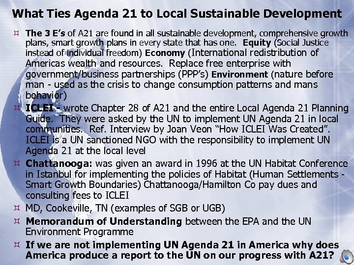 What Ties Agenda 21 to Local Sustainable Development The 3 E's of A 21