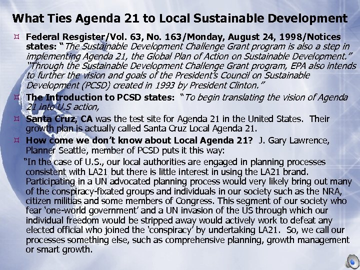 What Ties Agenda 21 to Local Sustainable Development Federal Resgister/Vol. 63, No. 163/Monday, August