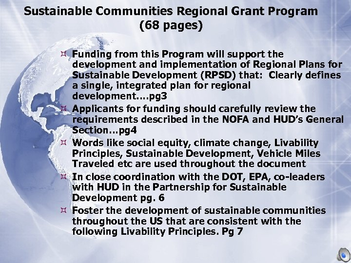 Sustainable Communities Regional Grant Program (68 pages) Funding from this Program will support the