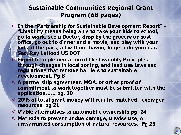 """Sustainable Communities Regional Grant Program (68 pages) In the """"Partnership for Sustainable Development Report"""""""