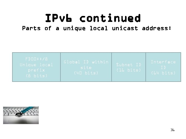 IPv 6 continued Parts of a unique local unicast address: FD 00: : /8