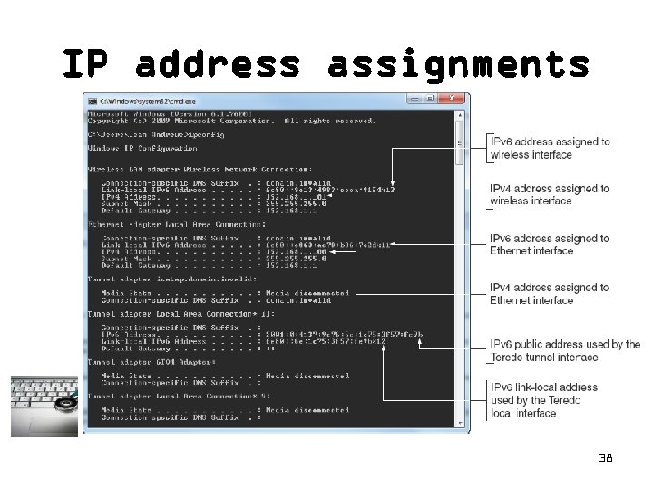 IP address assignments 38