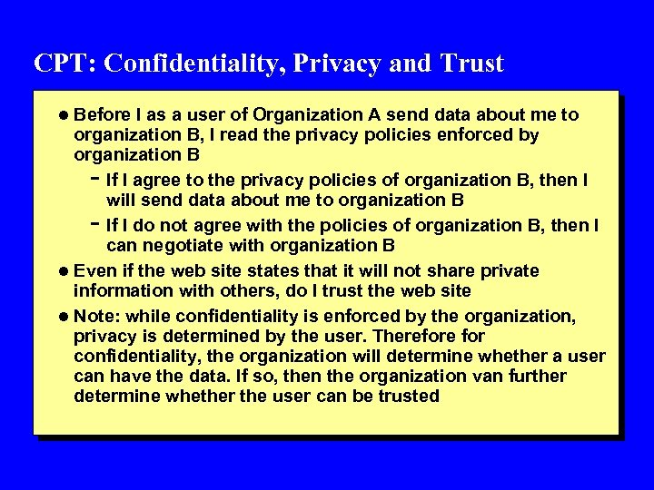 CPT: Confidentiality, Privacy and Trust l Before I as a user of Organization A
