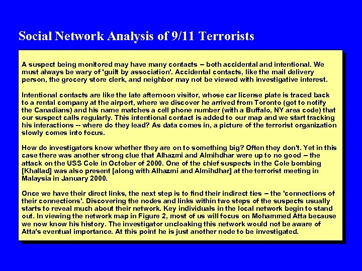 Social Network Analysis of 9/11 Terrorists A suspect being monitored may have many contacts