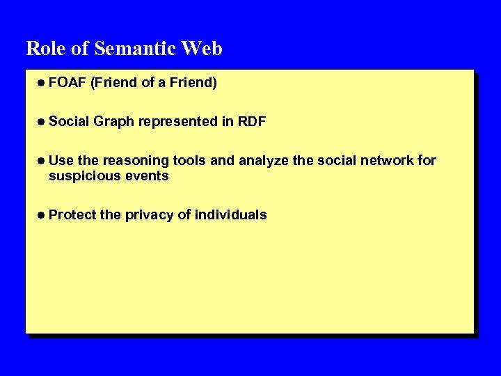 Role of Semantic Web l FOAF (Friend of a Friend) l Social Graph represented