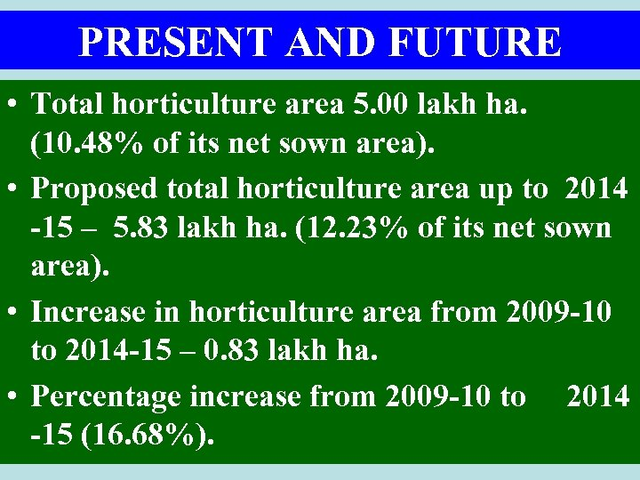 PRESENT AND FUTURE • Total horticulture area 5. 00 lakh ha. (10. 48% of