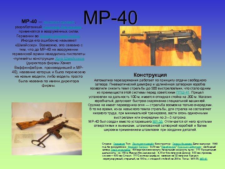 MP-40 — пистолет-пулемёт, MP-40 разработанный Генрихом Фоллмером, применялся в вооружённых силах Германии во Второй
