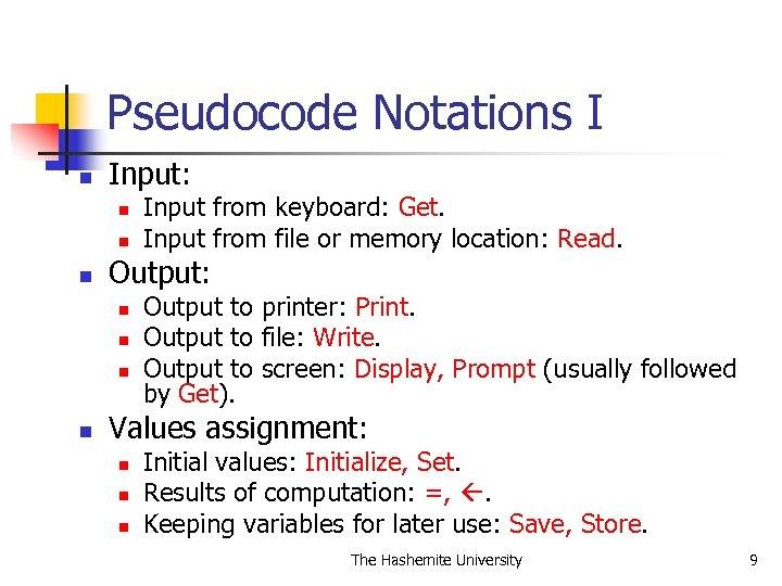 Pseudocode Notations I n Input: n n n Output: n n Input from keyboard: