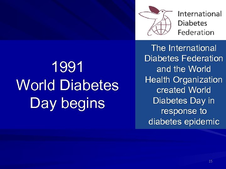 1991 World Diabetes Day begins The International Diabetes Federation and the World Health Organization