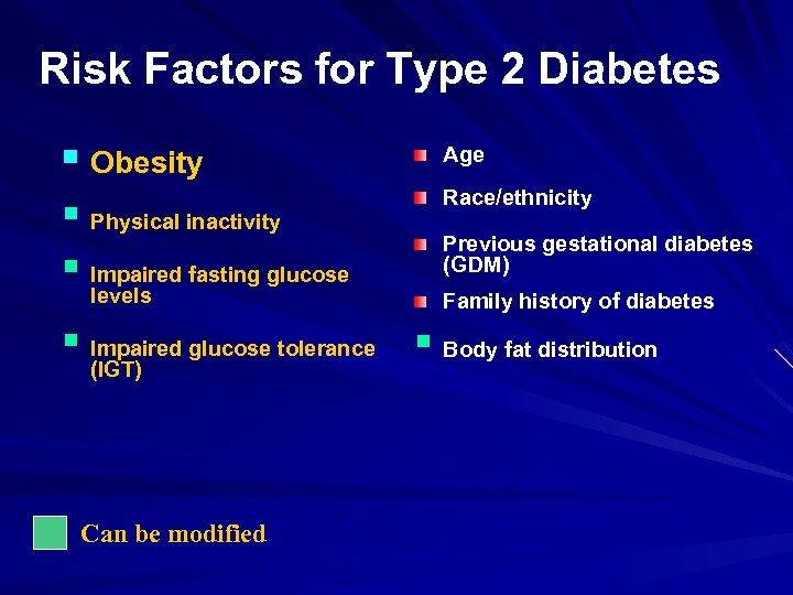 Risk Factors for Type 2 Diabetes § Obesity § Physical inactivity § Impaired fasting
