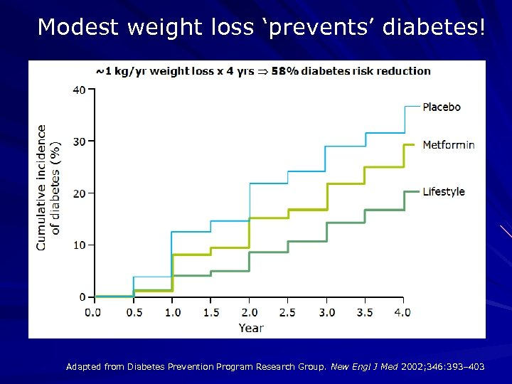Modest weight loss 'prevents' diabetes! Adapted from Diabetes Prevention Program Research Group. New Engl