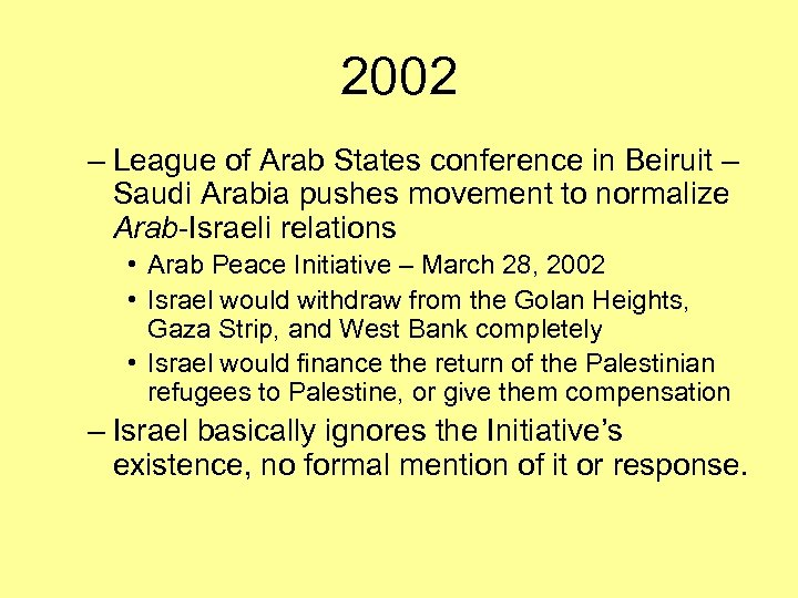 2002 – League of Arab States conference in Beiruit – Saudi Arabia pushes movement