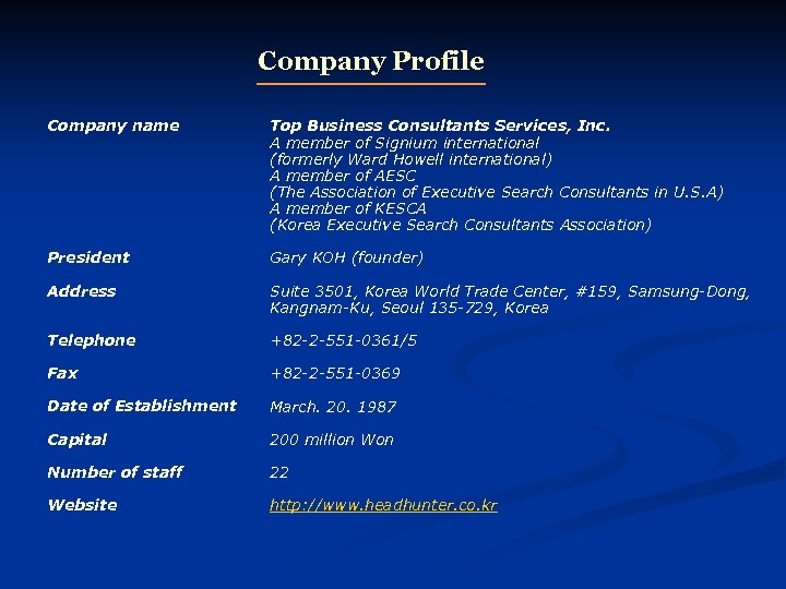 Company Profile Company name Top Business Consultants Services, Inc. A member of Signium international