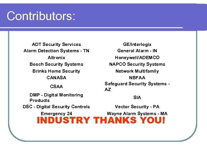 Contributors: ADT Security Services Alarm Detection Systems - TN Altronix Bosch Security Systems Brinks