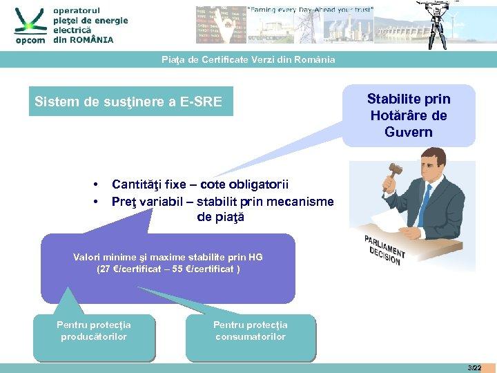 Piaţa de Certificate Verzi din România Sistem de susţinere a E-SRE • • Stabilite