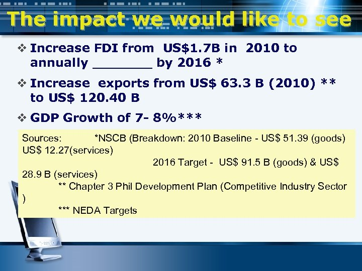 The impact we would like to see v Increase FDI from US$1. 7 B