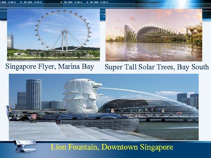 Singapore Flyer, Marina Bay Super Tall Solar Trees, Bay South Lion Fountain, Downtown Singapore