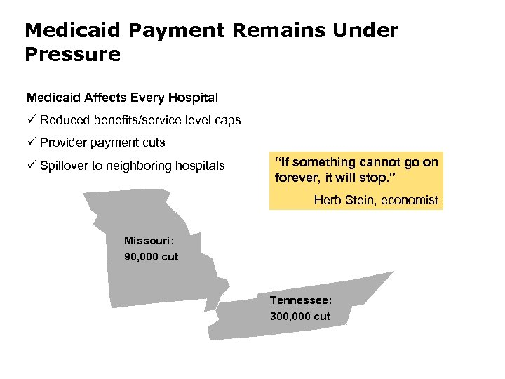 Medicaid Payment Remains Under Pressure Medicaid Affects Every Hospital ü Reduced benefits/service level caps