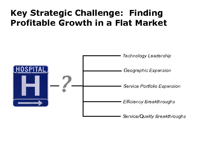 Key Strategic Challenge: Finding Profitable Growth in a Flat Market Technology Leadership ? Geographic