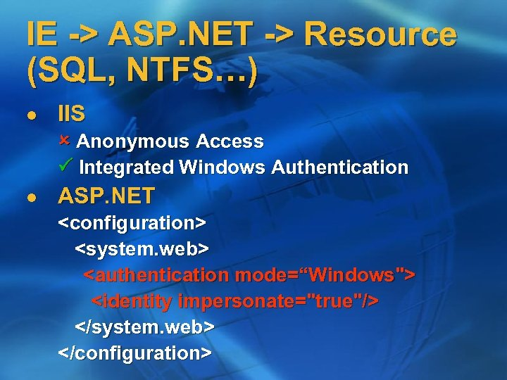 IE -> ASP. NET -> Resource (SQL, NTFS…) l IIS Anonymous Access Integrated Windows
