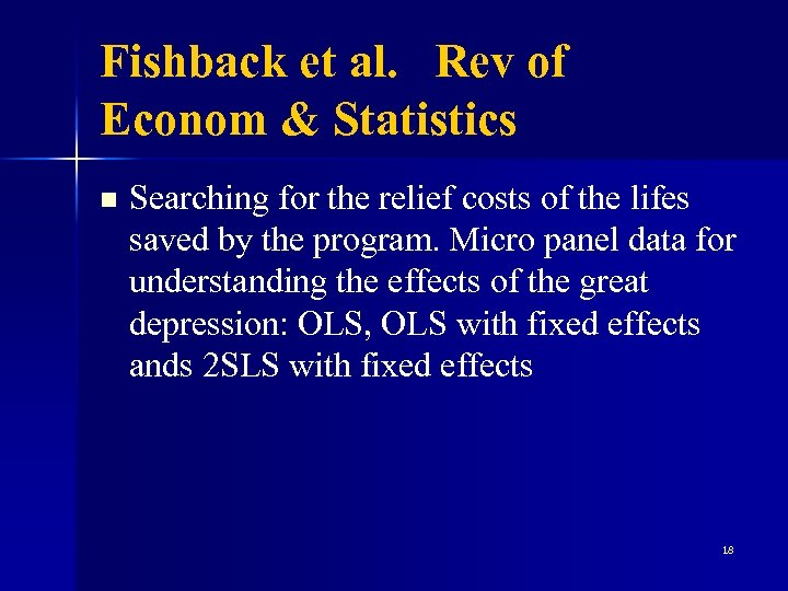 Fishback et al. Rev of Econom & Statistics n Searching for the relief costs