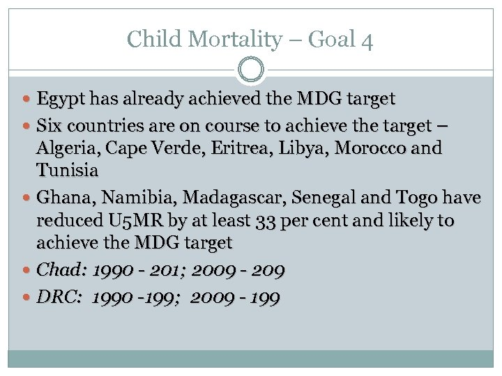 Child Mortality – Goal 4 Egypt has already achieved the MDG target Six countries