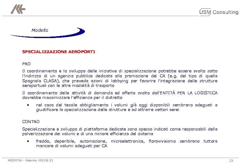 Modello SPECIALIZZAZIONE AEROPORTI PRO Il coordinamento e lo sviluppo delle iniziative di specializzazione potrebbe