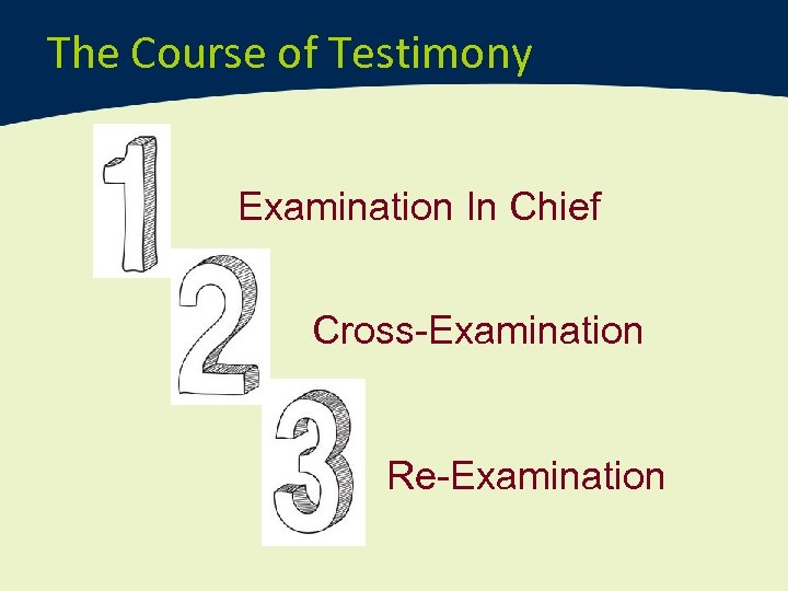 The Course of Testimony Examination In Chief Cross-Examination Re-Examination